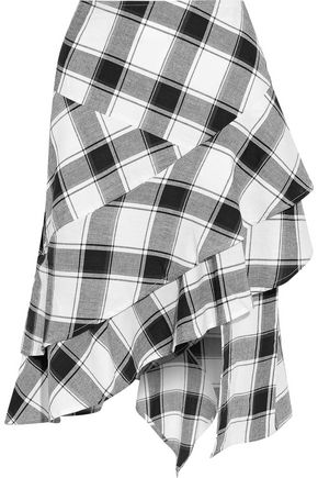 W118 by WALTER BAKER Asymmetric ruffled checked cotton-gauze skirt