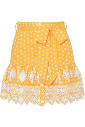 MIGUELINA Emy polka-dot broderie anglaise cotton mini skirt