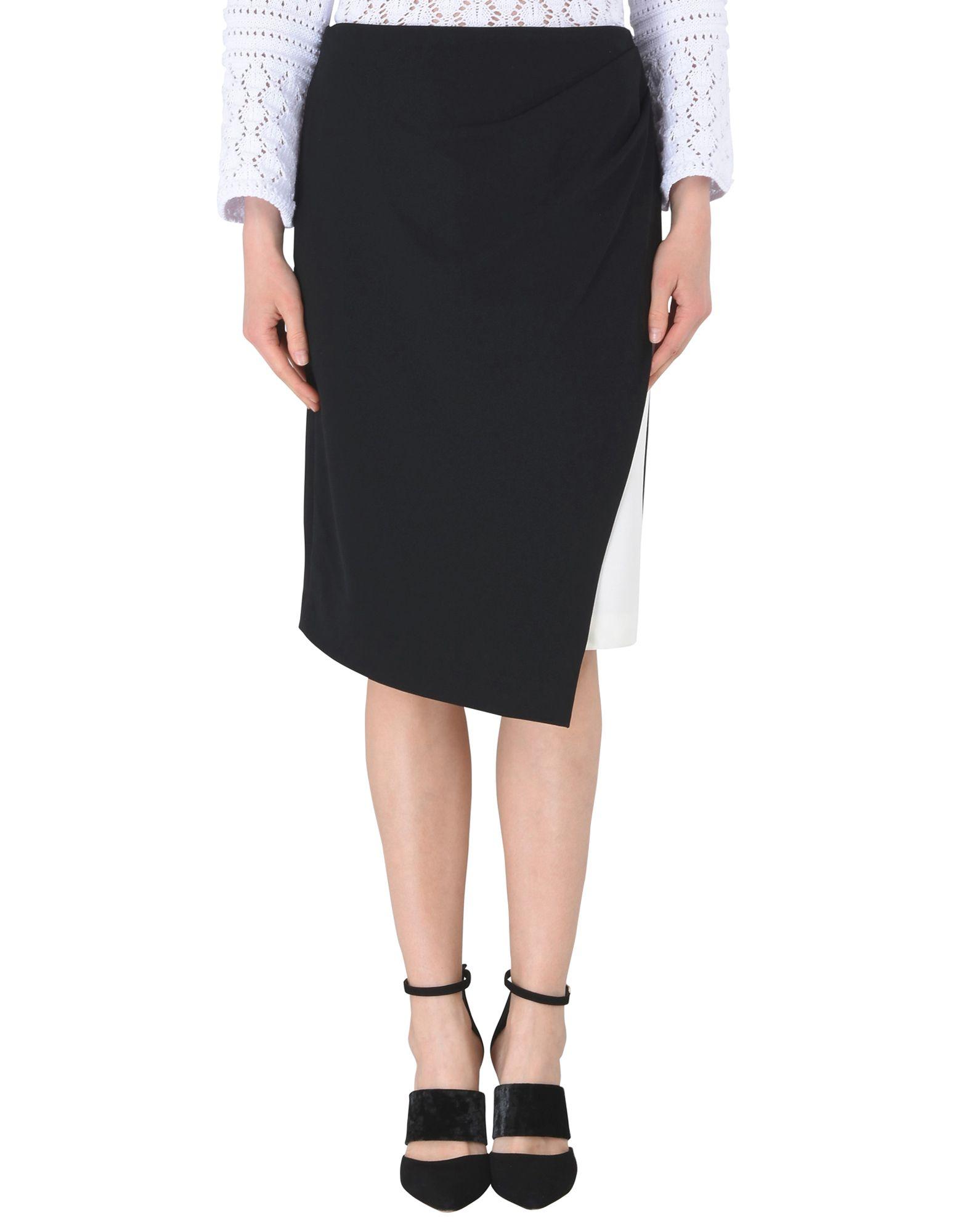 《送料無料》DKNY レディース ひざ丈スカート ブラック 0 ポリエステル 94% / ポリウレタン 6% MIDI COLORBLOCK SKIRT W/ SIDE