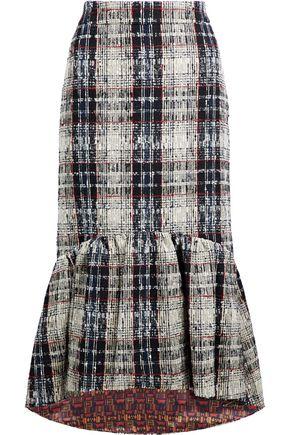 STELLA JEAN Ruffled checked bouclé-tweed skirt