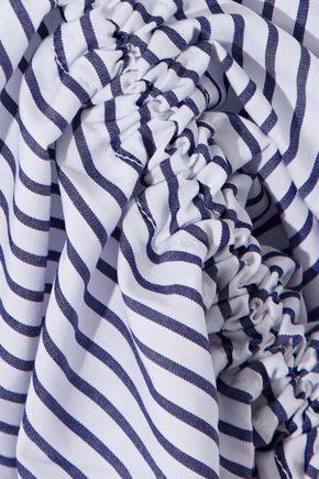 IRIS & INK Casey ruched striped cotton-poplin midi skirt