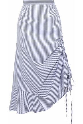 IRIS & INK Casey ruched striped cotton-poplin midi skirt