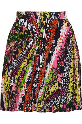 VERSACE Pleated printed crepe mini skirt