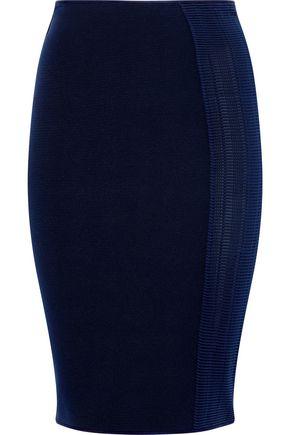 GIORGIO ARMANI | Giorgio Armani Crochet-Paneled Ribbed-Knit Skirt | Goxip