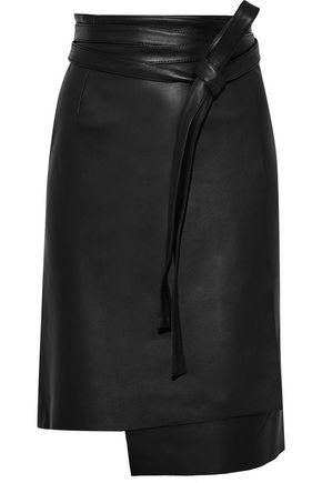 IRIS & INK Emile leather wrap skirt