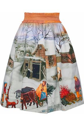 STELLA JEAN Belted printed cotton-blend twill skirt