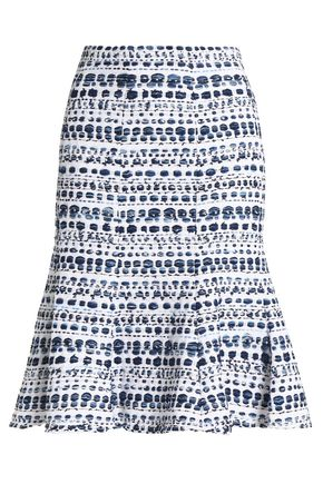 OSCAR DE LA RENTA Fluted bouclé-tweed skirt
