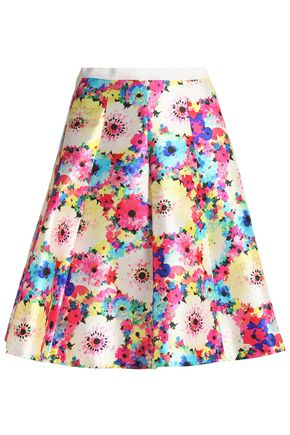OSCAR DE LA RENTA Pleated floral-print silk and cotton-blend faille skirt