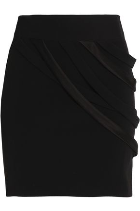 HALSTON HERITAGE Draped satin-trimmed crepe mini skirt