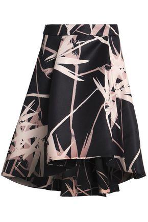 HALSTON HERITAGE Asymmetric printed satin skirt