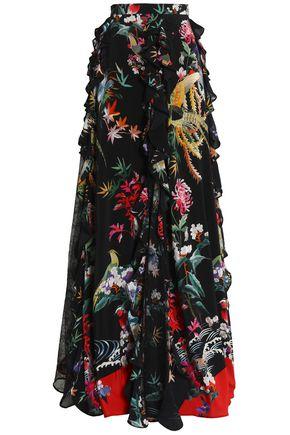 ZUHAIR MURAD Ruffle-trimmed floral-print silk crepe de chine maxi skirt