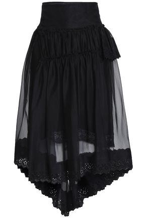 SIMONE ROCHA Asymmetric lace-trimmed organza midi skirt