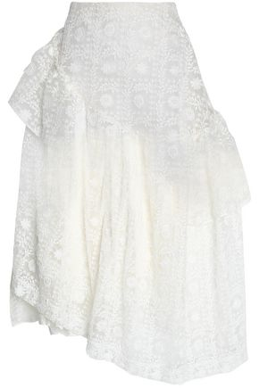SIMONE ROCHA Asymmetric embroidered cotton-blend organza midi skirt
