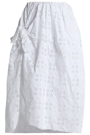 SIMONE ROCHA Knotted broderie anglaise cotton-blend midi skirt