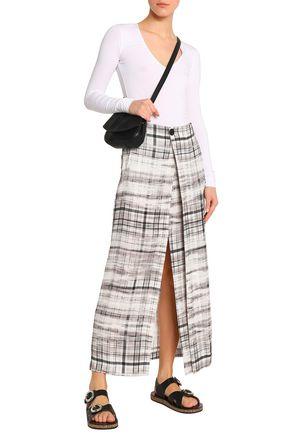 JOSEPH Checked satin-crepe wrap skirt