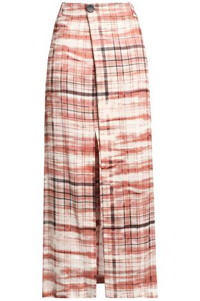 JOSEPH Checked satin-crepe wrap skirt