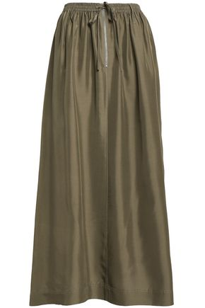 JOSEPH Flint gathered silk-satin midi skirt