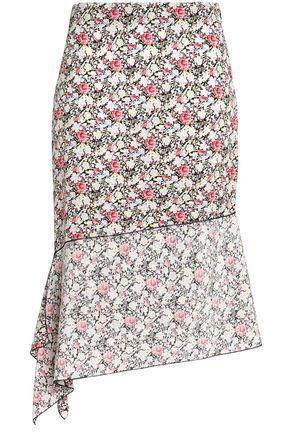 JOSEPH Asymmetric floral-print silk skirt