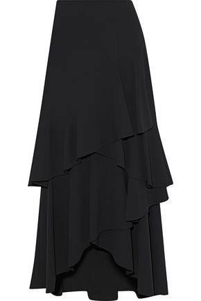 ALICE+OLIVIA Martina asymmetric ruffled crepe midi skirt