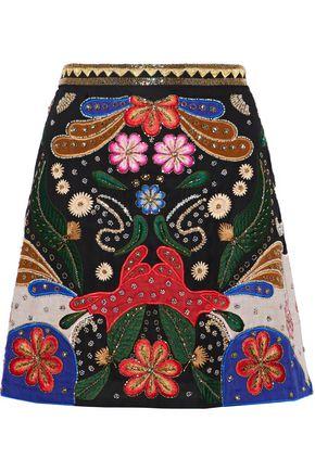 ALICE + OLIVIA Riley embellished embroidered crepe mini skirt