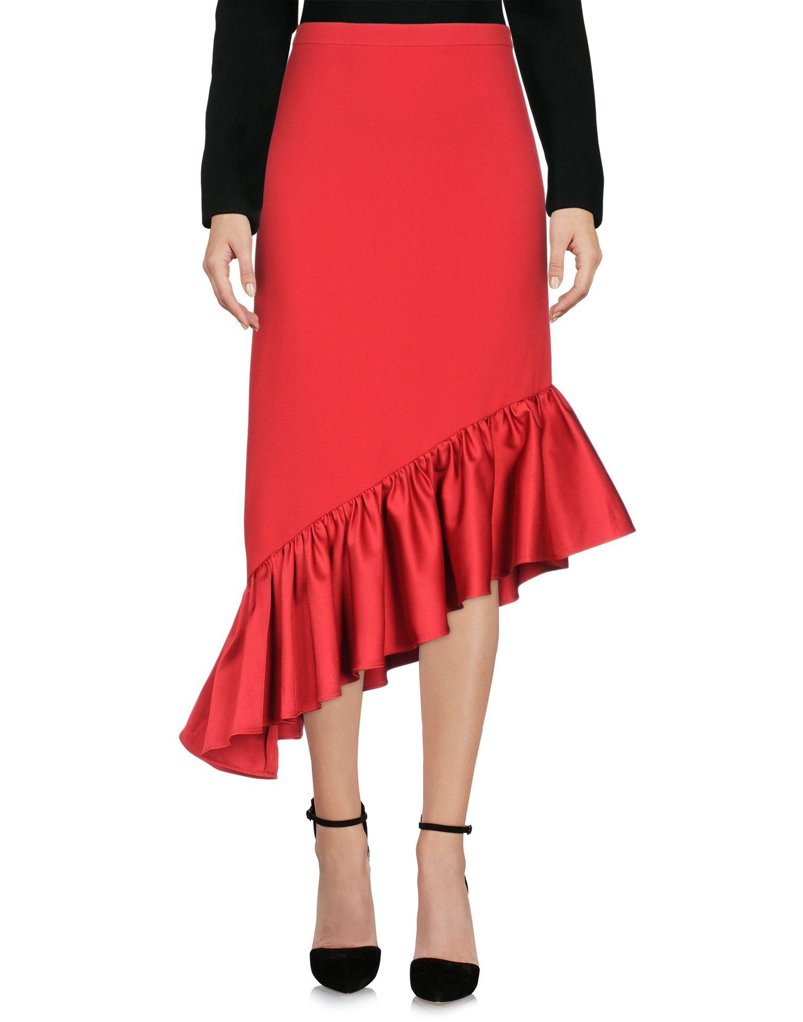 EDIT Knee Length Skirt in Red