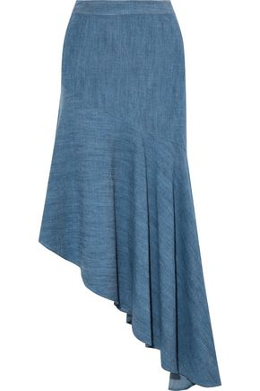 ALICE+OLIVIA Molina asymmetric chambray midi skirt