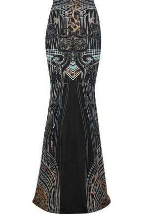ROBERTO CAVALLI Fluted printed jersey maxi skirt