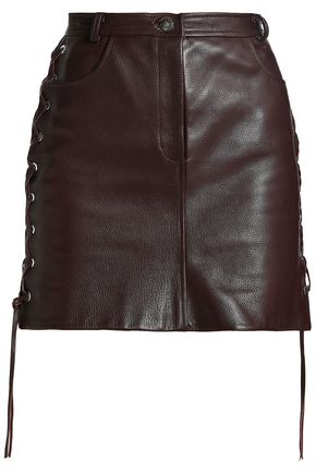 MAGDA BUTRYM Lace-up textured-leather mini skirt