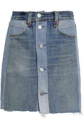 RE/DONE by LEVI'S Two-tone denim mini skirt