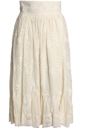 VALENTINO Pleated broderie anglaise cotton midi skirt