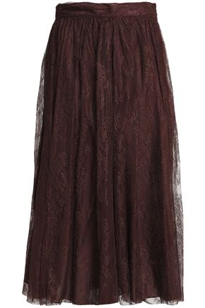 VALENTINO Gathered silk lace midi skirt