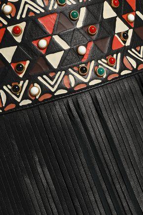 VALENTINO Fringed embellished leather mini skirt