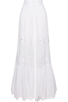 ROBERTO CAVALLI Pleated broderie anglaise-paneled cotton maxi skirt