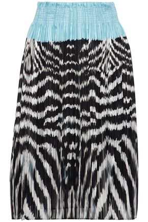 ROBERTO CAVALLI Pleated printed silk-chiffon skirt
