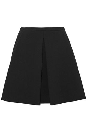 ROBERTO CAVALLI Pleated wool-crepe mini skirt