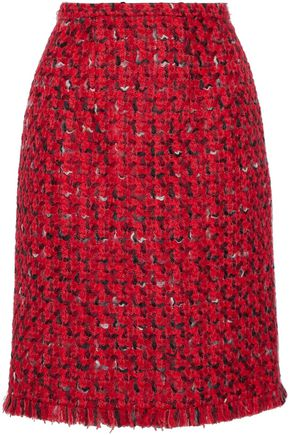 WOMAN WOOL AND COTTON-BLEND BOUCLÉ-TWEED SKIRT RED