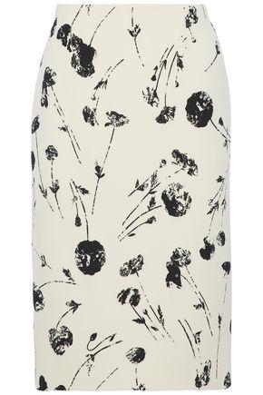 OSCAR DE LA RENTA Printed wool-blend skirt