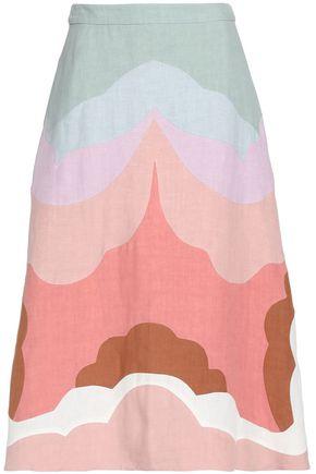 VALENTINO Paneled linen maxi skirt
