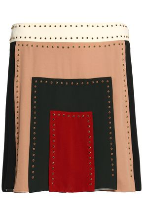 VALENTINO Studded color-block silk crepe de chine mini skirt