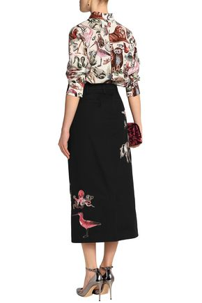 VALENTINO Embroidered cotton-twill midi skirt