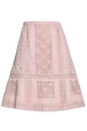 VALENTINO Flared macramé cotton-blend mini skirt