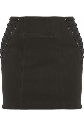 MICHELLE MASON Lace-up cotton-blend twill mini skirt