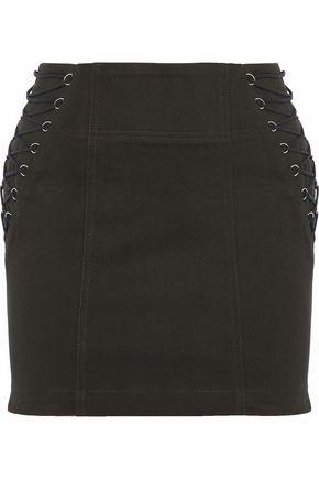 MICHELLE MASON Lace-up cotton-blend twill mini skirt