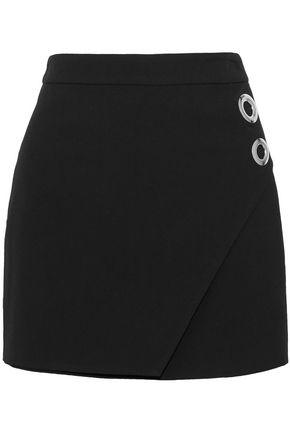 MICHELLE MASON Wrap-effect eyelet-embellished cady mini skirt