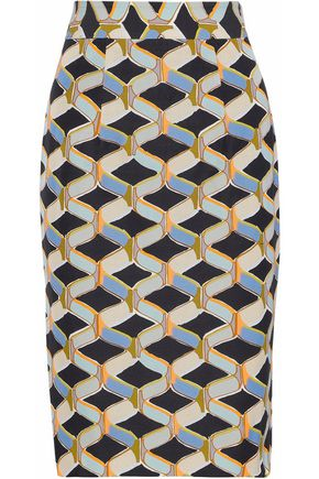 MILLY Printed cotton-blend twill skirt