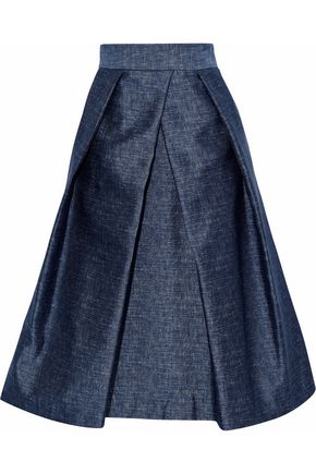 MILLY Clarisa pleated satin-twill skirt