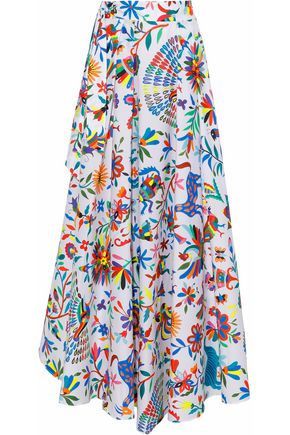 MILLY Peyton printed cotton-blend poplin maxi skirt