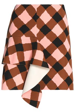 MARNI Ruffled gingham neoprene mini skirt