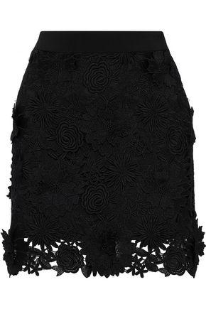 MILLY Floral-appliquéd guipure lace mini skirt