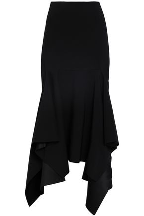 SOLACE LONDON Asymmetric satin-crepe midi skirt